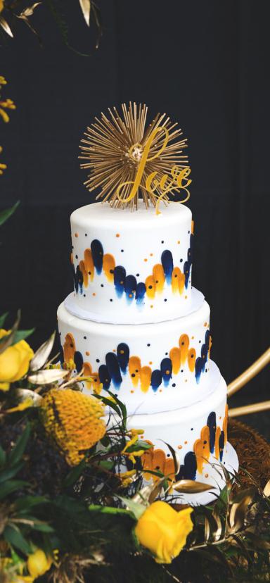 Gold and Navy Brush Strokes Wedding Cake