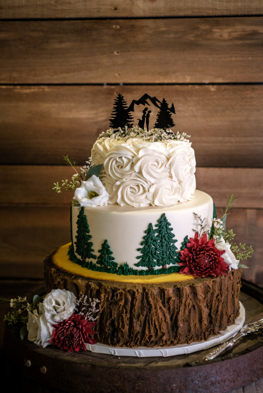 3-Tier wedding cake with tree bark and evergreen trees design