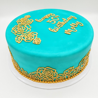 teal and gold flowers